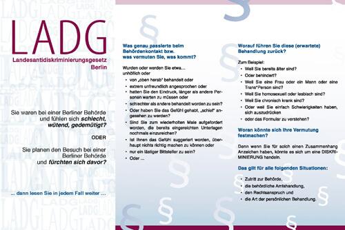 Flyer - Das Landesantidiskriminierungsgesetz für Berlin (Seite 1)